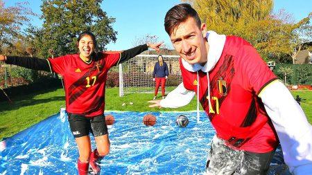 Celine & Michiel – Slip 'n' Slide Voetbal Challenge vs Mijn Vriendin & Zus #72
