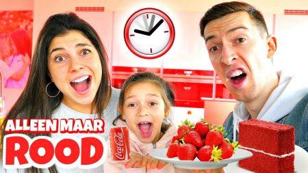 Celine & Michiel – 1 Dag Alleen Maar Rood Voedsel Eten! *Challenge* #91