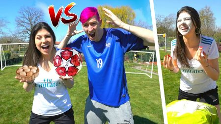 Celine & Michiel – Voetbal Challenge Met Gekke Straffen – Celine vs Michiel #123