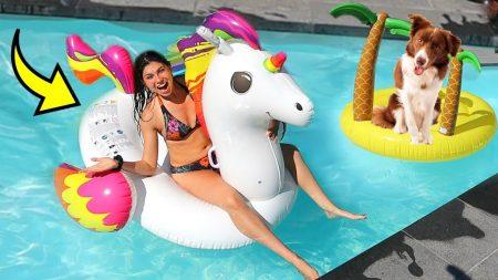 Celine & Michiel – 10 Gekke Zwembad Floaties Testen 💦 *Met Milou De Hond* #158
