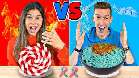 Celine & Michiel – Blauw vs Rood Voedsel Challenge – 24 Uur Lang Alleen Maar 1 Kleur Voedsel Eten! #197