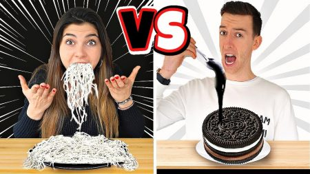 Celine & Michiel – Zwart vs Wit Voedsel Eten Voor 1 Dag! *Kleur Challenge* #239